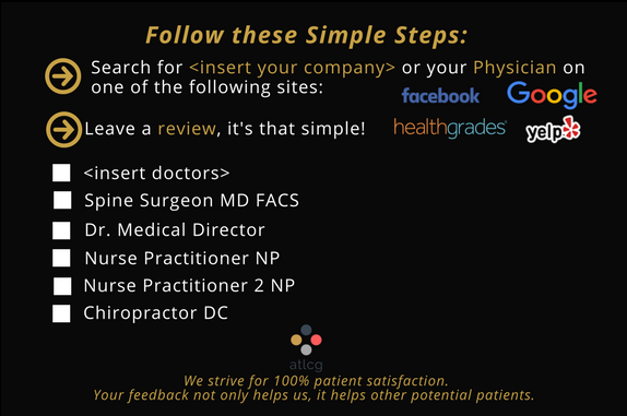 review card for spine orthopedic practices